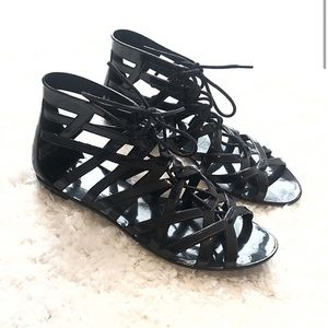 Dirty Laundry gladiator jelly lace up sandals